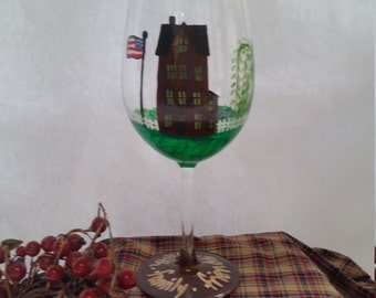 Folk Art, Primitive House, American Flag, willow tree, Faith, Family, Friends hand painted wine glass