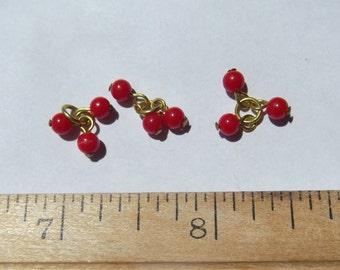 Red Glass Dangle Drop Bead ct. 10