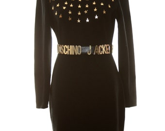 Star Studded LBD Black Dress by Kathryn Conover Vintage Wool Stars