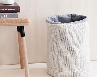 hand knitted storage bin - lambswool knit, woven lining in gray