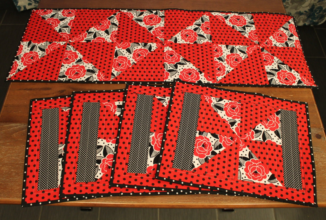 Handmade quilted kitchen gift set black red and white table for Quilted kitchen set