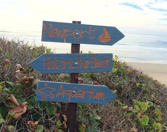Newport Beach Directional Signs - Ocean Coast Oregon Nye Aquarium Harbor - Distressed Blue Painted Cedar Arrow - Personalize Customizable