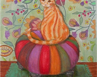 Ginger Cat Painting Mixed Media Gift for Cat Lover Orange Cat Patterned Wallpaper Cat Sitting Ottoman Orange Plum Red Colorful
