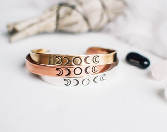 Moon phase bracelet. Phases of the moon cuff. Goddess bracelet. Hand stamped bracelet.Gift for her.Moon jewelry.Meaningful cuff bracelet.RTS