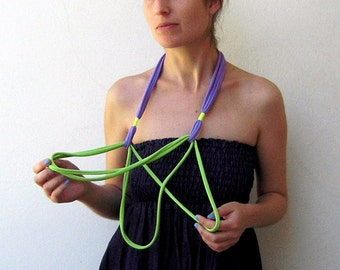 The birdie necklace - handmade in lime green and lilac jersey fabrics with neon yellow strands