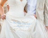 Large Wedding Dress Satin Label Custom Monogrammed