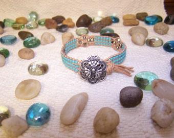Natural Leather Beaded Cuff Bracelet--Handmade