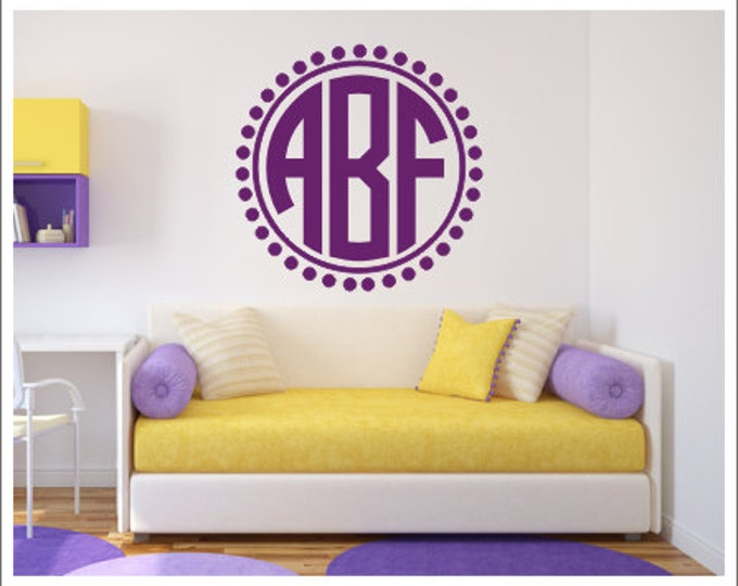 Monogram Wall Decal Personalized Wall Monogram Vinyl Decal Preppy Circle Monogram Decal Nursery Decal Bedroom Decal Girls Teen Vinyl Decal