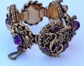 Art Deco Dragon Rhinestone Amethyst Glass Bracelet
