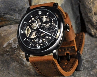 Mens Skeleton Watch, Automatic Watch, Graduation Gift, Anniversary Gift, Groom Gift, Military Watch, For Him, SALE, GEML-BC01