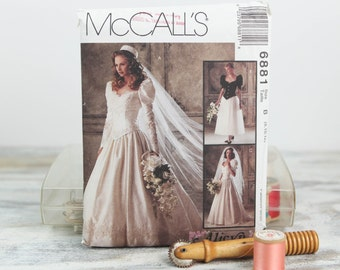 Misses Size 8, 10 12, Bridal gown & bridesmaid dress, 1990's McCalls  (6881) Vintage Sewing Pattern