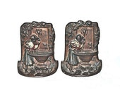 Art Deco 1920s Bookends Maiden Drinks from a Lion Head Fountain Cast Iron