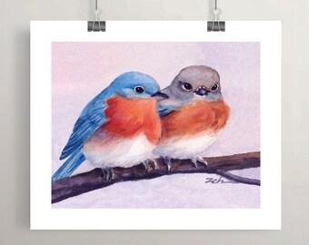 bluebird art print, watercolor blue bird, Mothers Day gift, couples gift, bird painting by Janet Zeh Original Art