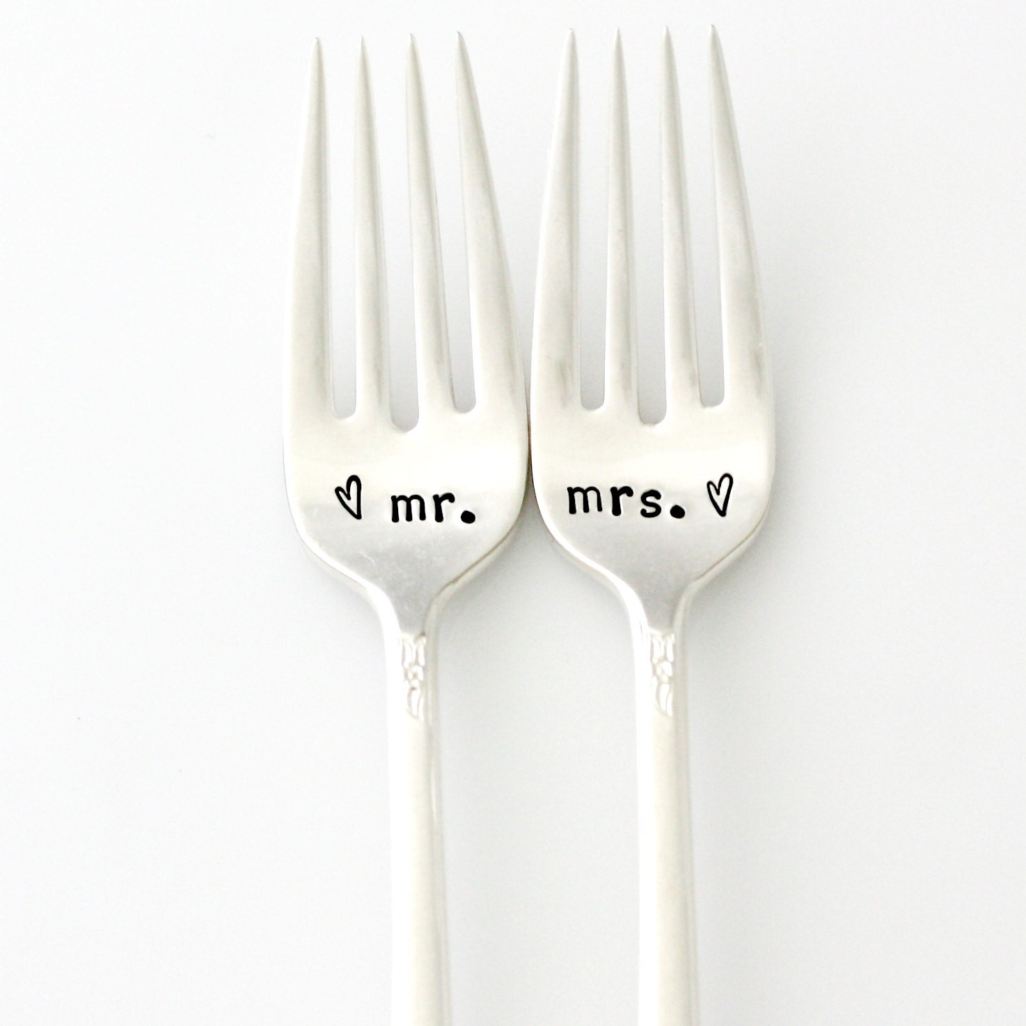 Mr And Mrs Wedding Forks Table Setting. By