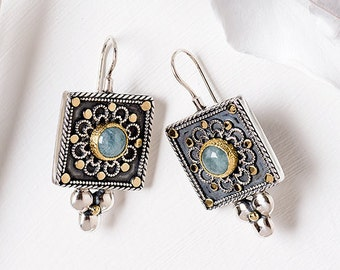 Silver Aquamarine Earrings, Square Aquamarine Dangle earrings, Sterling Silver & 22K Solid Gold statement Earrings, March Birthstone