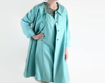 60s Suit, Vintage Wedding, Wiggle Dress, Blue Coat Dress, Rhinestones