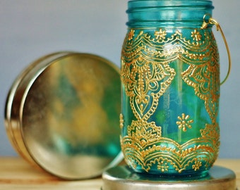Mason Jar Candle Holder Centerpiece, Bohemian Table Decor, Morocco Inspired Candle Lantern, Painted Mason Jar Lantern with Henna Design