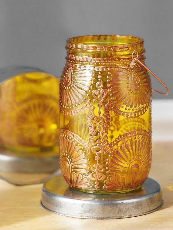 Hand Painted Mason Jar Lantern, With Goldenrod Yellow Glass and Copper Design