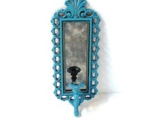 Vintage Turquoise Candle Sconce Wall Mirror Aqua Blue Candle Holder Shabby Chic Turquoise Wall Sconce Dart Industries Homco Upcycled DD 890