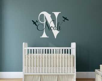 Airplane Wall Decal,Personalized Airplane Nursery, Airplane Decor, Airplane Nursery, Nursery Plane, Airplane Wall Decal