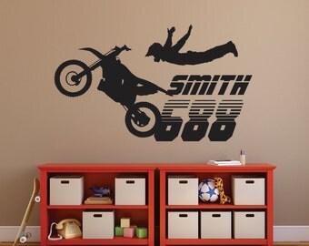 Motocross Wall Decal, Motocross Decor, Dirt Bike Wall Decal, Boys Wall Decal , Part 27