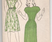"""1940's New York One-Piece Dress with Cap Sleeves Pattern - UC/FF - Bust 29"""" - No. 917"""