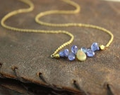 Ethiopian Welo Opal necklace. Horizontal Bar Necklace. Tanzanite Teardrop Necklace. Gold Fill or Sterling Silver. NS-1919