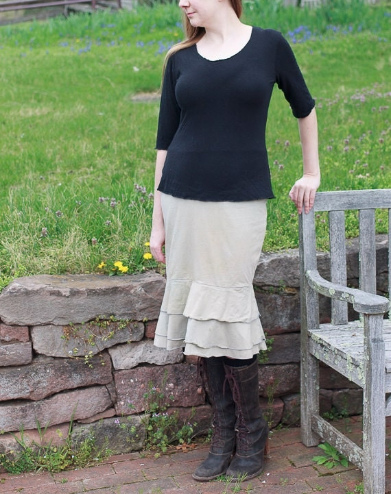 Waterfall Skirt, Organic Cotton Jersey Ruffle Skirt, Handmade Eco Friendly Skirt