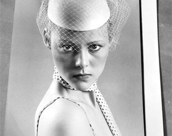 1980's Hat Photography Vintage Black and White Original Photo Fascinator Birdcage Veil by John Rogers Professional Photography