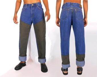 Mens Jeans/ Pants for Men/ Minimalist Clothing/ Mens Streetwear/ Cross Colours/ Mens Denim/ Utilitarian/ High Waisted Pants/ Lumberjack