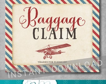 Baggage Claim Sign - 8x10 inches - Vintage Airplane Baby Shower - Birthday - Baby Boy - Favor Sign - Digital - Printable - INSTANT DOWNLOAD