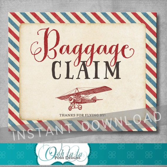 Italian Boy Name: Baggage Claim Sign 8x10 Inches Vintage Airplane Baby