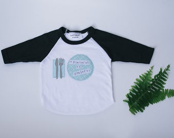 "Thanksgiving Shirt ""A Plateful of Grateful"" for Babies and Children; Swanky Shank; Thanksgiving Baby"