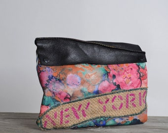 Abstract Leather Clutch - OOAK Leather Clutch - Pink Leather Clutch - New York - Up-cycled Leather Clutch