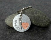 Personalized Pet Memorial Keychain - Paw Print in heart- Custom with pet's name, hand stamped on metal with angel wing charm - Pet loss gift