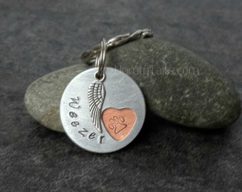 Personalized Pet Memorial Keychain - Paw Print inside heart- Custom made with pet's name, hand stamped on metal with angel wing charm -