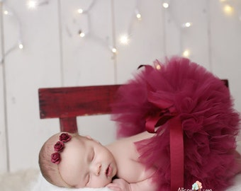 CRANBERRY TUTU and Headband, Newborn Tutu, Baby Tutu, Tutu and Tieback, Newborn Photo Prop, Photo Prop, Tutus for Children, Tutu Set
