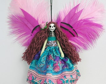 Day of the Dead  Fairy Ornament, hanging ornament, Fairy decoration, OOAK