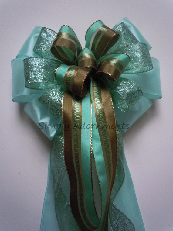 Mint jade Wedding Pew Bow Mint Jade Church Aisle Pew Bow Mint Bridal Baby Shower Party Decorations Dark Olive Mint Green Chair Bow