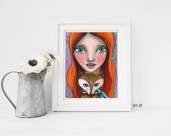 Kids wall art girl, childrens room, Fine art print, whimsical mixed medium canvas art, children wall art, kids wall art, nursery room art