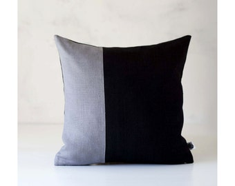 Throw pillow - gray with black background - decorative color block pillow cover - modern accent pillow for home decor  - 0410