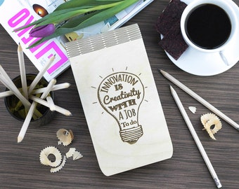 Wood Notebook, Sketch Book, Drawing, Wooden Pad, Wood Cover, Journal, Personalised Gift, Diary, Spiral Notepad