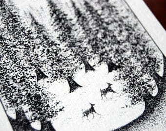 Into the Woods - 5x8, Illustration, Pointillism, Black and White, Witchy, Forest, Woods, Moon, Deer, Winter