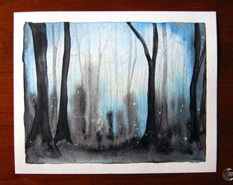 """Original Watercolor 8x10"""" - Enchanted Forest"""