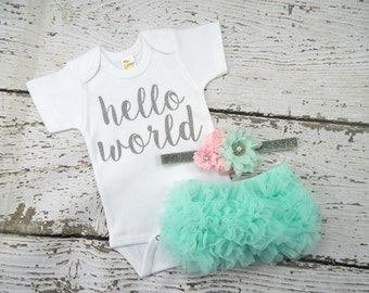 HELLO WORLD AQUA Baby Girl Take Home Outfit / Newborn Baby Girl / Hello World Bodysuit / Aqua Bloomers Pink & Aqua Headband Set  Shower Gift