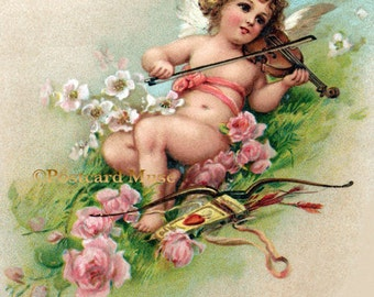Cherub With A Violin - New 4x6 Photo Print From A Vintage Postcard AN031