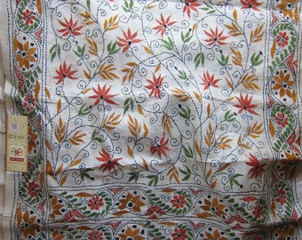 Kantha Tussar - Rust Green Flowers and Vines