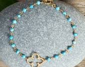 FOUR LEAF CLOVER bracelet / turquoise rosary chain