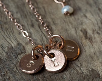 Initial Necklace, Mothers Necklace, Rose Gold Necklace, Personalized Necklace, Disc necklace, Mommy Jewelry, Hand Stamped Necklace