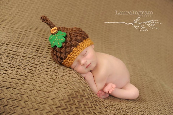 Acorn Hat newborn Baby prop boy or girl autumn fall prop, acorn baby hat -Brown, honey, green - Made to Order